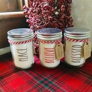 Rae Dunn Mason Jar Candles Set Holiday 2018